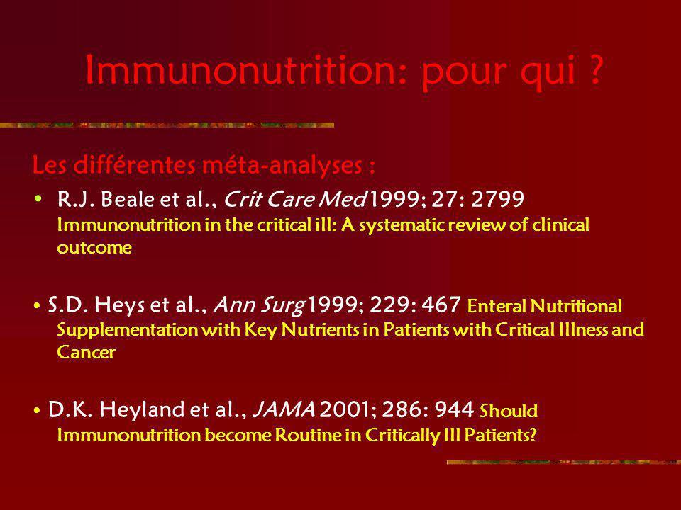 Immunonutrition: pour qui ? Les différentes méta-analyses : R.J. Beale et al., Crit Care Med 1999; 27: 2799 Immunonutrition in the critical ill: A sys