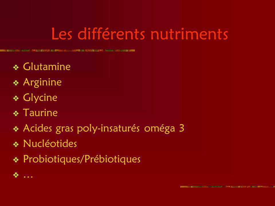 Les différents nutriments Glutamine Arginine Glycine Taurine Acides gras poly-insaturés oméga 3 Nucléotides Probiotiques/Prébiotiques …