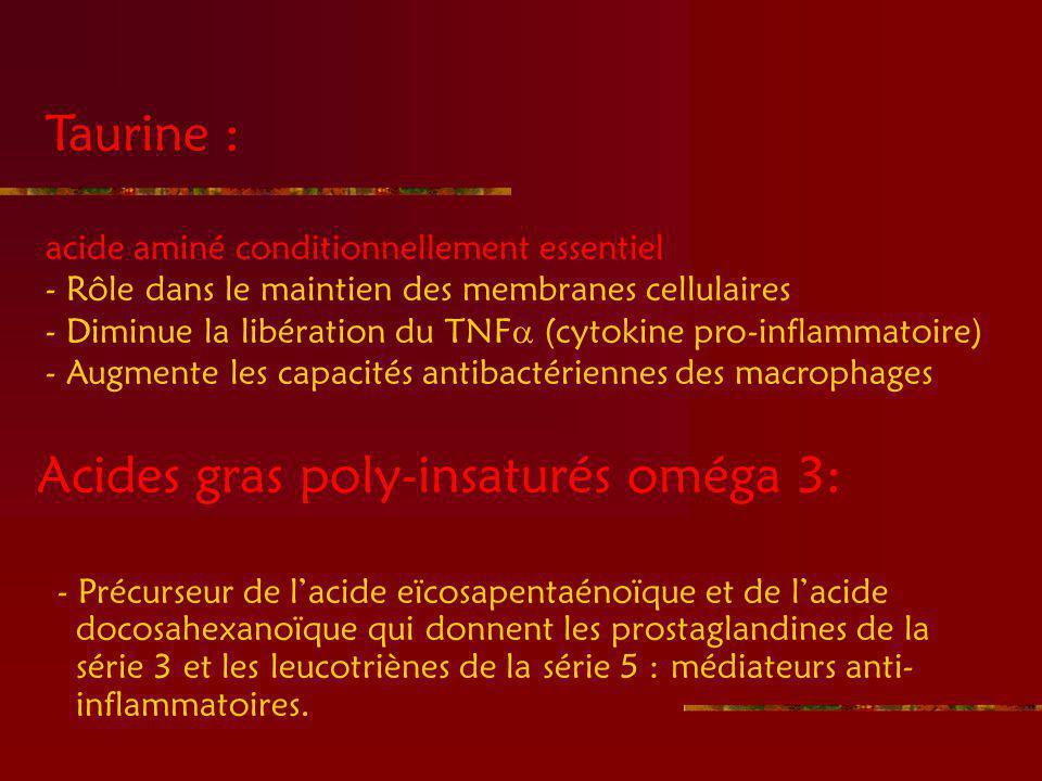 Acides gras poly-insaturés oméga 3: - Précurseur de lacide eïcosapentaénoïque et de lacide docosahexanoïque qui donnent les prostaglandines de la série 3 et les leucotriènes de la série 5 : médiateurs anti- inflammatoires.