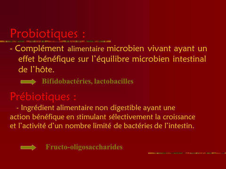 Probiotiques : - Complément alimentaire microbien vivant ayant un effet bénéfique sur léquilibre microbien intestinal de lhôte.