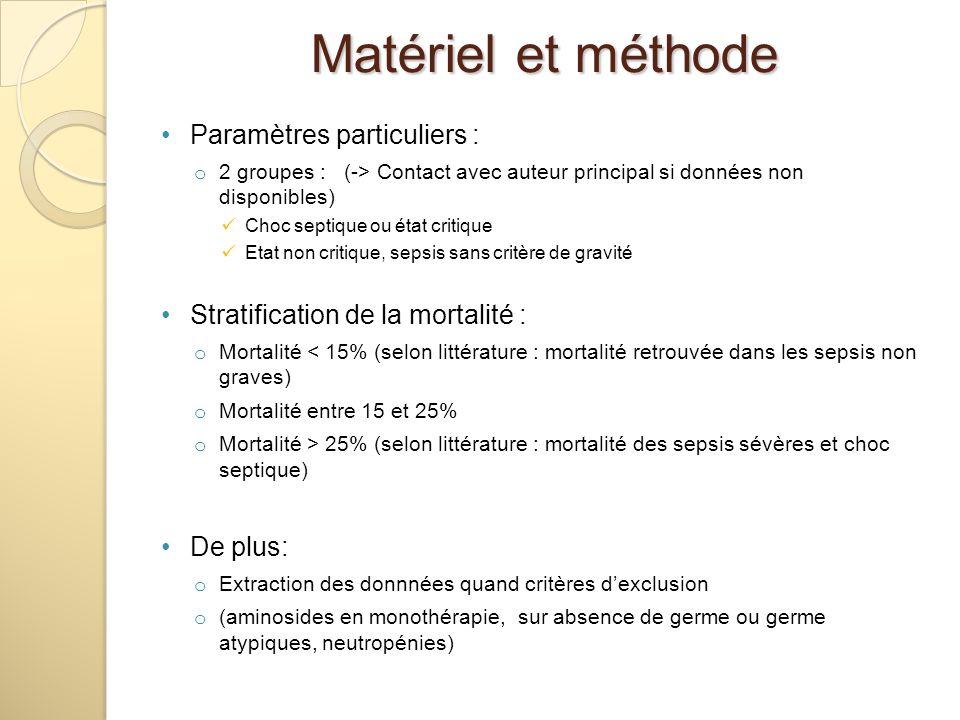 Paramètres particuliers : o 2 groupes : (-> Contact avec auteur principal si données non disponibles) Choc septique ou état critique Etat non critique