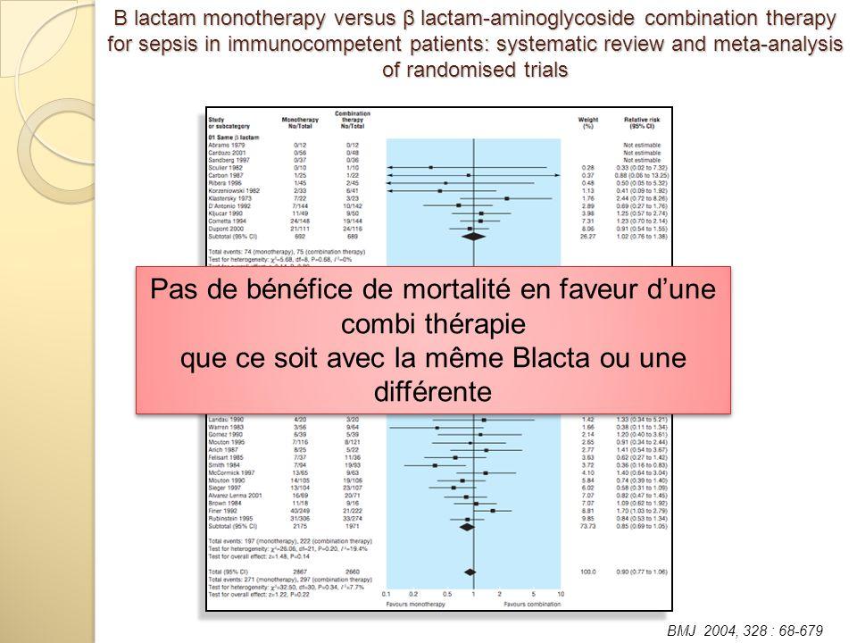 Pas de bénéfice de mortalité en faveur dune combi thérapie que ce soit avec la même Blacta ou une différente Pas de bénéfice de mortalité en faveur du