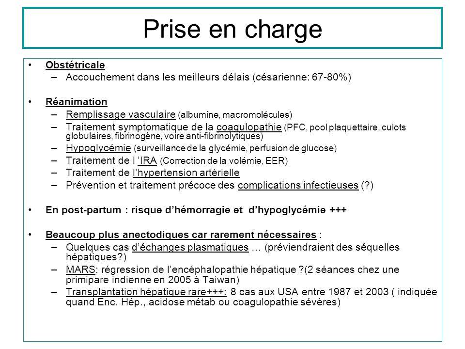 Prise en charge Obstétricale –Accouchement dans les meilleurs délais (césarienne: 67-80%) Réanimation –Remplissage vasculaire (albumine, macromolécules) –Traitement symptomatique de la coagulopathie (PFC, pool plaquettaire, culots globulaires, fibrinogène, voire anti-fibrinolytiques) –Hypoglycémie (surveillance de la glycémie, perfusion de glucose) –Traitement de l IRA (Correction de la volémie, EER) –Traitement de lhypertension artérielle –Prévention et traitement précoce des complications infectieuses (?) En post-partum : risque dhémorragie et dhypoglycémie +++ Beaucoup plus anectodiques car rarement nécessaires : –Quelques cas déchanges plasmatiques … (préviendraient des séquelles hépatiques?) –MARS: régression de lencéphalopathie hépatique ?(2 séances chez une primipare indienne en 2005 à Taiwan) –Transplantation hépatique rare+++: 8 cas aux USA entre 1987 et 2003 ( indiquée quand Enc.