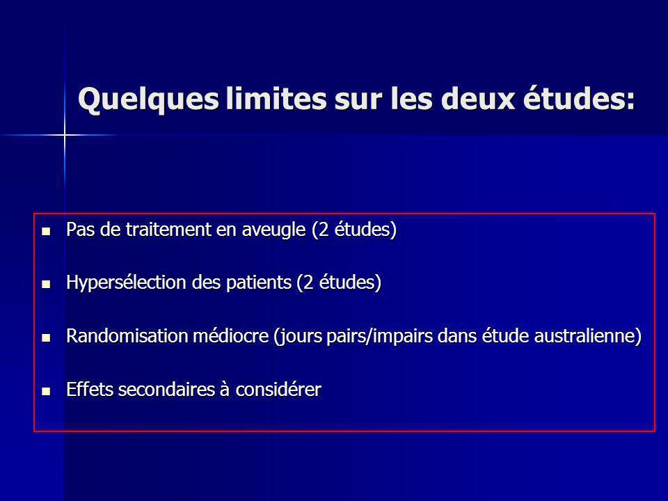 Quelques limites sur les deux études: Pas de traitement en aveugle (2 études) Pas de traitement en aveugle (2 études) Hypersélection des patients (2 é