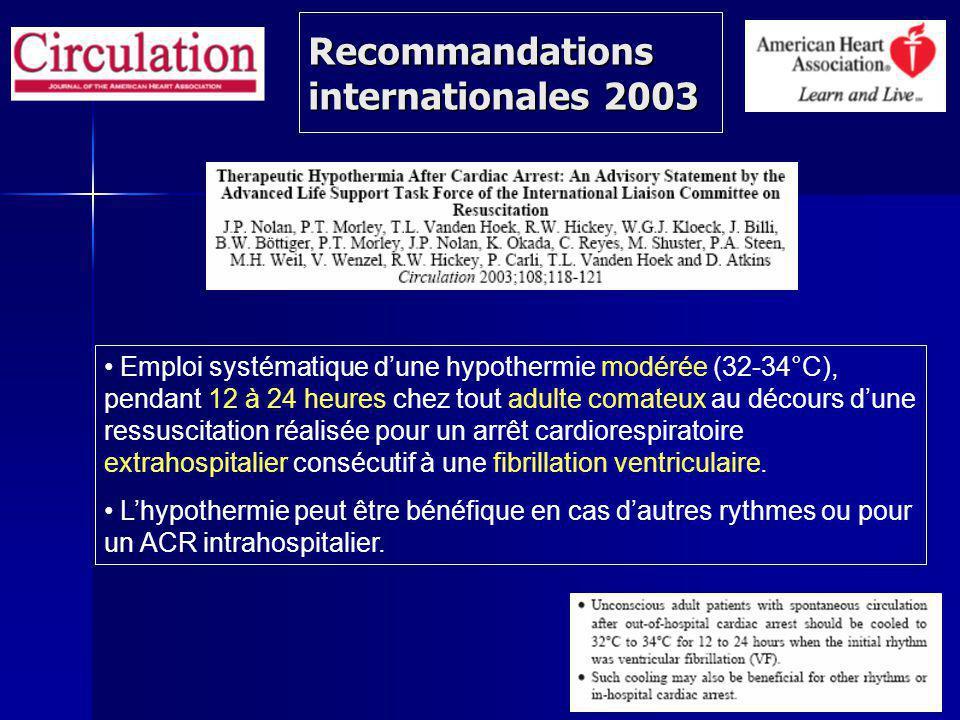 Recommandations internationales 2003 Emploi systématique dune hypothermie modérée (32-34°C), pendant 12 à 24 heures chez tout adulte comateux au décours dune ressuscitation réalisée pour un arrêt cardiorespiratoire extrahospitalier consécutif à une fibrillation ventriculaire.
