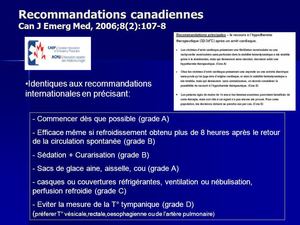 Recommandations canadiennes Can J Emerg Med, 2006;8(2):107-8 Identiques aux recommandations internationales en précisant: - Commencer dès que possible