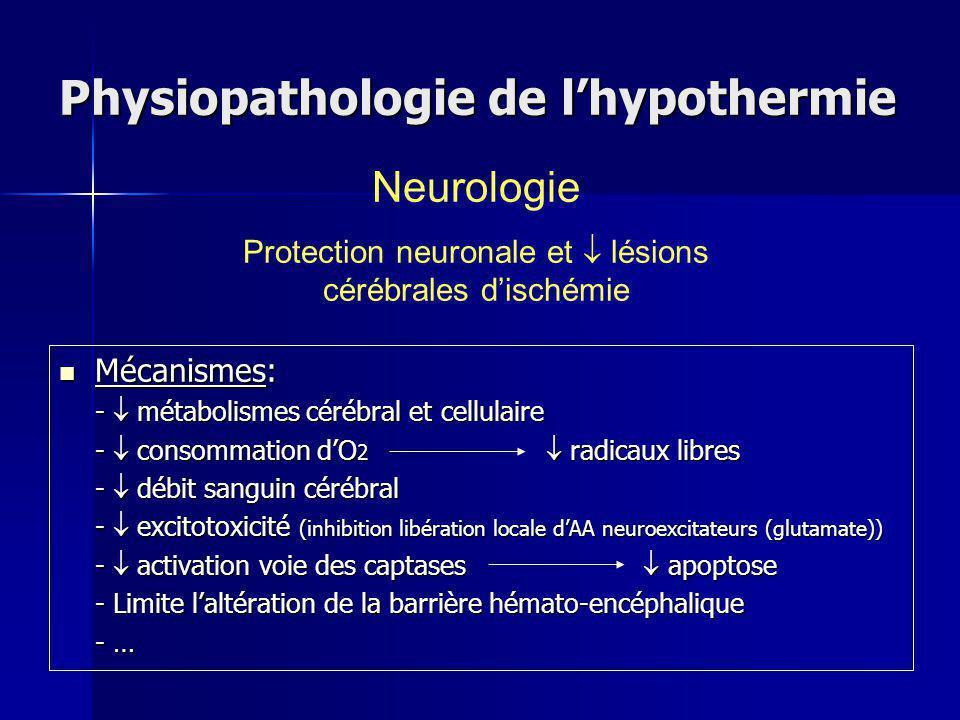 Physiopathologie de lhypothermie Mécanismes: Mécanismes: - métabolismes cérébral et cellulaire - consommation dO 2 radicaux libres - débit sanguin cérébral - excitotoxicité (inhibition libération locale dAA neuroexcitateurs (glutamate)) - activation voie des captases apoptose - Limite laltération de la barrière hémato-encéphalique - … Neurologie Protection neuronale et lésions cérébrales dischémie