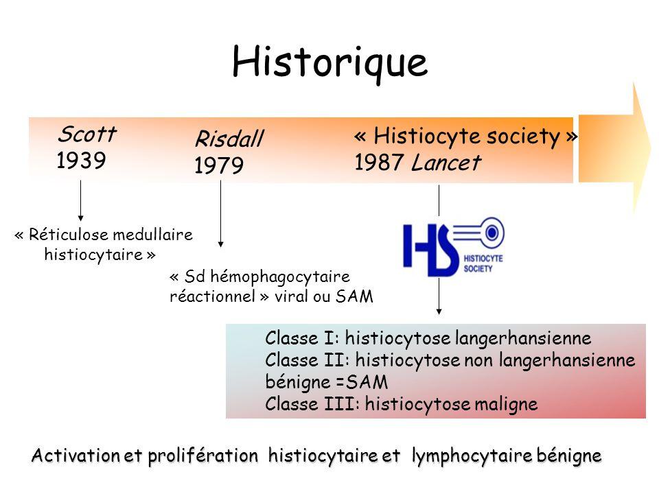 Historique « Réticulose medullaire histiocytaire » Scott 1939 Risdall 1979 « Sd hémophagocytaire réactionnel » viral ou SAM « Histiocyte society » 198