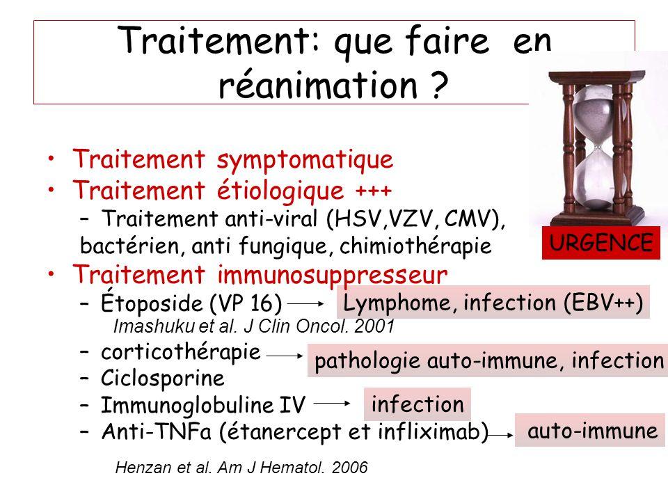 Traitement: que faire en réanimation ? Traitement symptomatique Traitement étiologique +++ –Traitement anti-viral (HSV,VZV, CMV), bactérien, anti fung