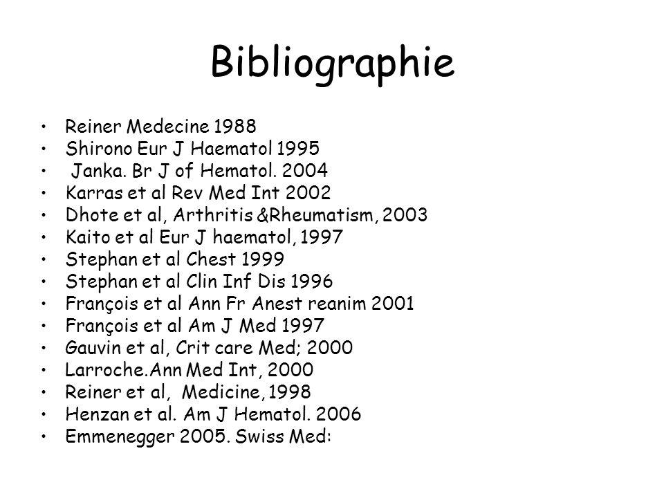 Bibliographie Reiner Medecine 1988 Shirono Eur J Haematol 1995 Janka. Br J of Hematol. 2004 Karras et al Rev Med Int 2002 Dhote et al, Arthritis &Rheu