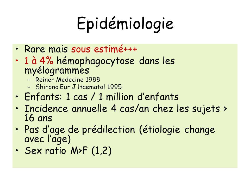 Epidémiologie Rare mais sous estimé+++ 1 à 4% hémophagocytose dans les myélogrammes –Reiner Medecine 1988 –Shirono Eur J Haematol 1995 Enfants: 1 cas