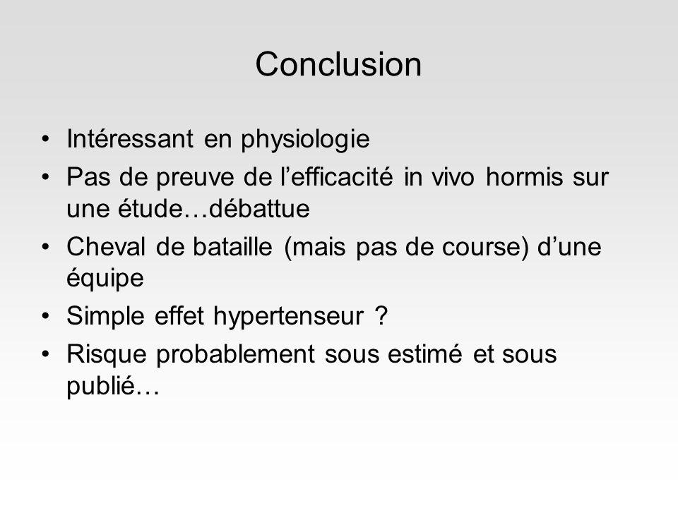 Conclusion Intéressant en physiologie Pas de preuve de lefficacité in vivo hormis sur une étude…débattue Cheval de bataille (mais pas de course) dune équipe Simple effet hypertenseur .