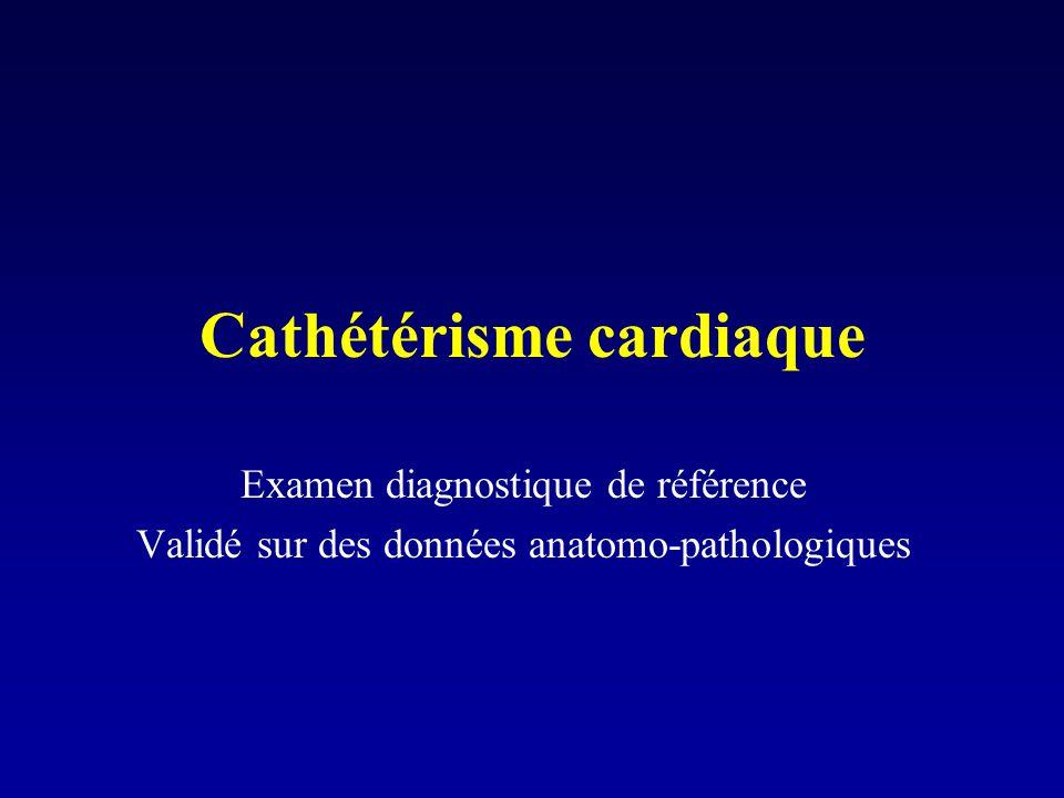 Cathétérisme cardiaque Examen diagnostique de référence Validé sur des données anatomo-pathologiques