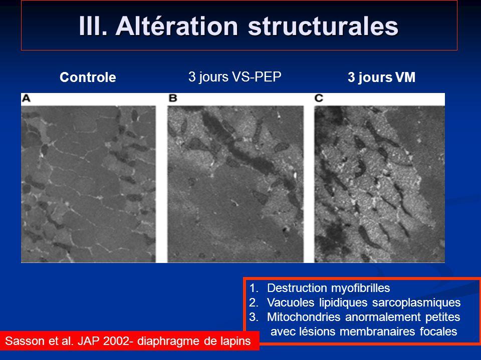 III. Altération structurales 1.Destruction myofibrilles 2.Vacuoles lipidiques sarcoplasmiques 3.Mitochondries anormalement petites avec lésions membra