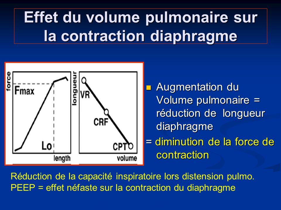 Effet du volume pulmonaire sur la contraction diaphragme Augmentation du Volume pulmonaire = réduction de longueur diaphragme = diminution de la force