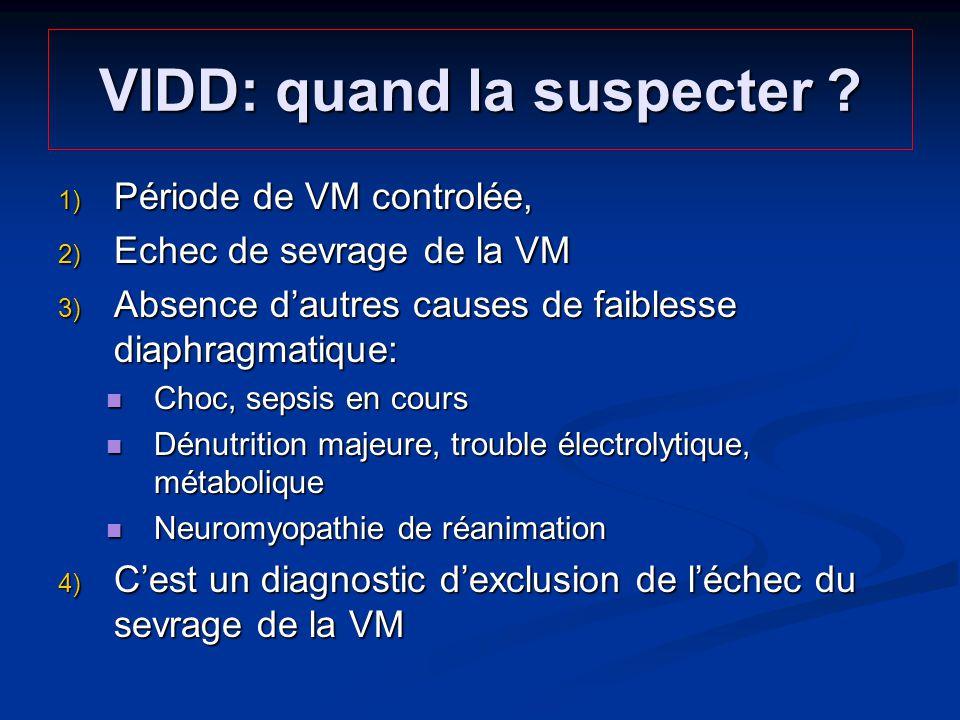 VIDD: quand la suspecter ? Période de VM controlée, Période de VM controlée, Echec de sevrage de la VM Echec de sevrage de la VM Absence dautres cause