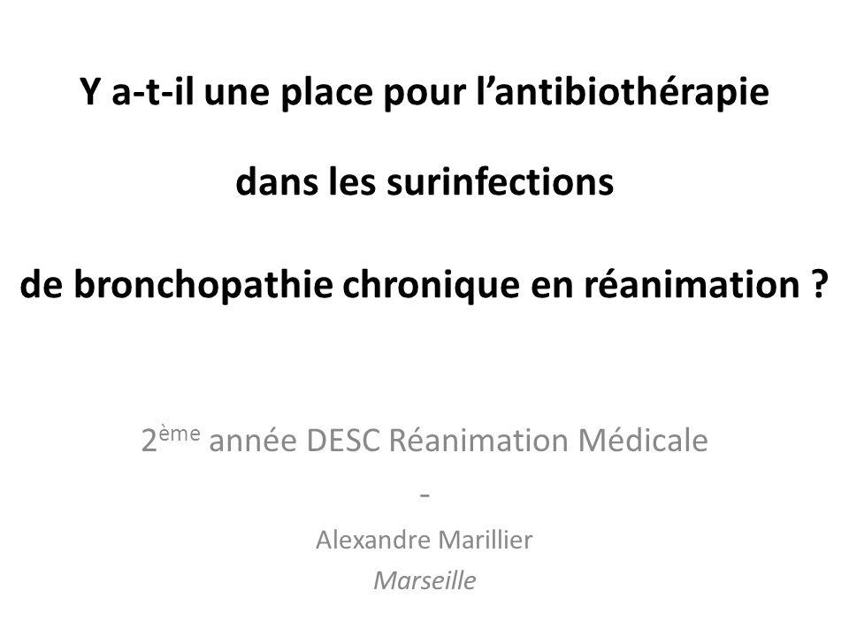 Y a-t-il une place pour lantibiothérapie dans les surinfections de bronchopathie chronique en réanimation ? 2 ème année DESC Réanimation Médicale - Al