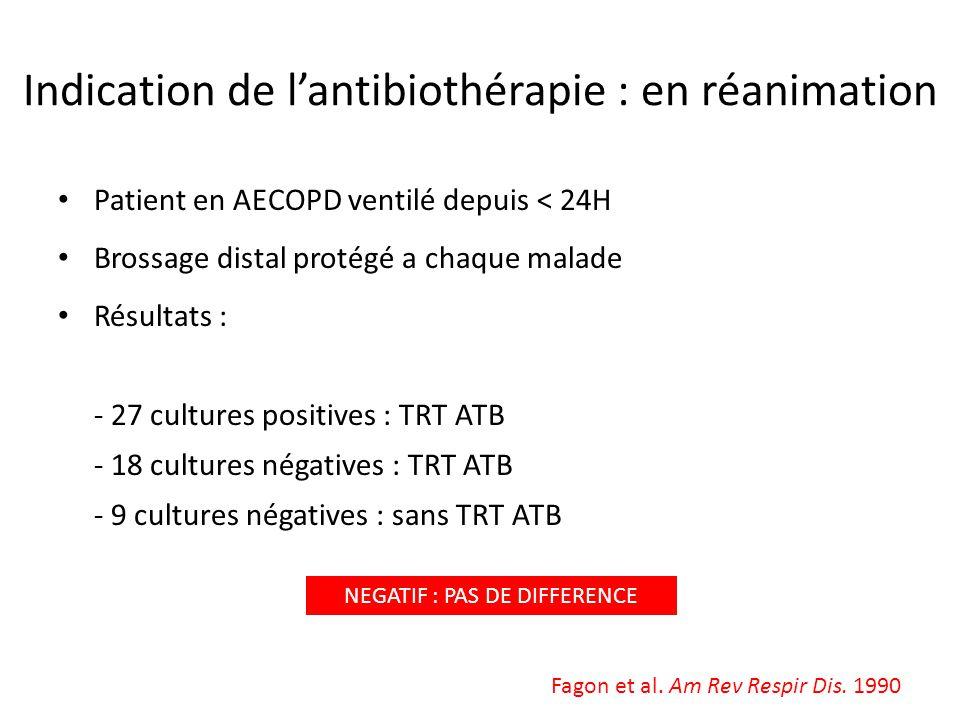 Indication de lantibiothérapie : en réanimation Patient en AECOPD ventilé depuis < 24H Brossage distal protégé a chaque malade Résultats : - 27 cultur