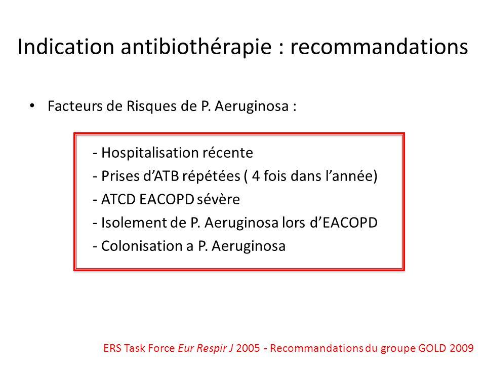 Indication antibiothérapie : recommandations Facteurs de Risques de P. Aeruginosa : - Hospitalisation récente - Prises dATB répétées ( 4 fois dans lan