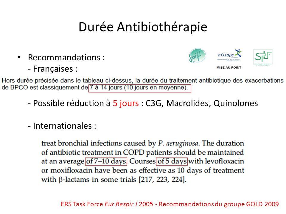 Recommandations : - Françaises : - Possible réduction à 5 jours : C3G, Macrolides, Quinolones - Internationales : Durée Antibiothérapie ERS Task Force