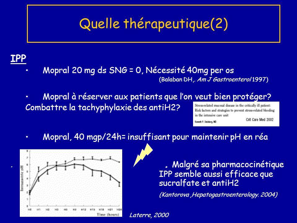 IPP Mopral 20 mg ds SNG = 0, Nécessité 40mg per os (Balaban DH,. Am J Gastroenterol 1997) Mopral à réserver aux patients que lon veut bien protéger? C