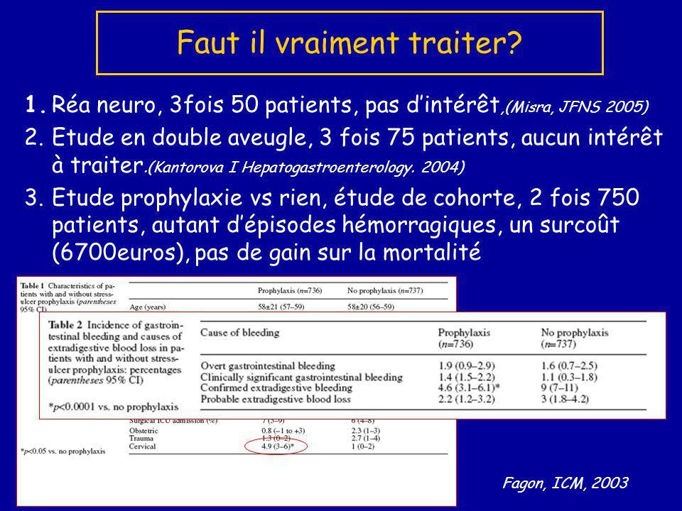 1.Réa neuro, 3fois 50 patients, pas dintérêt,(Misra, JFNS 2005) 2.Etude en double aveugle, 3 fois 75 patients, aucun intérêt à traiter.(Kantorova I He