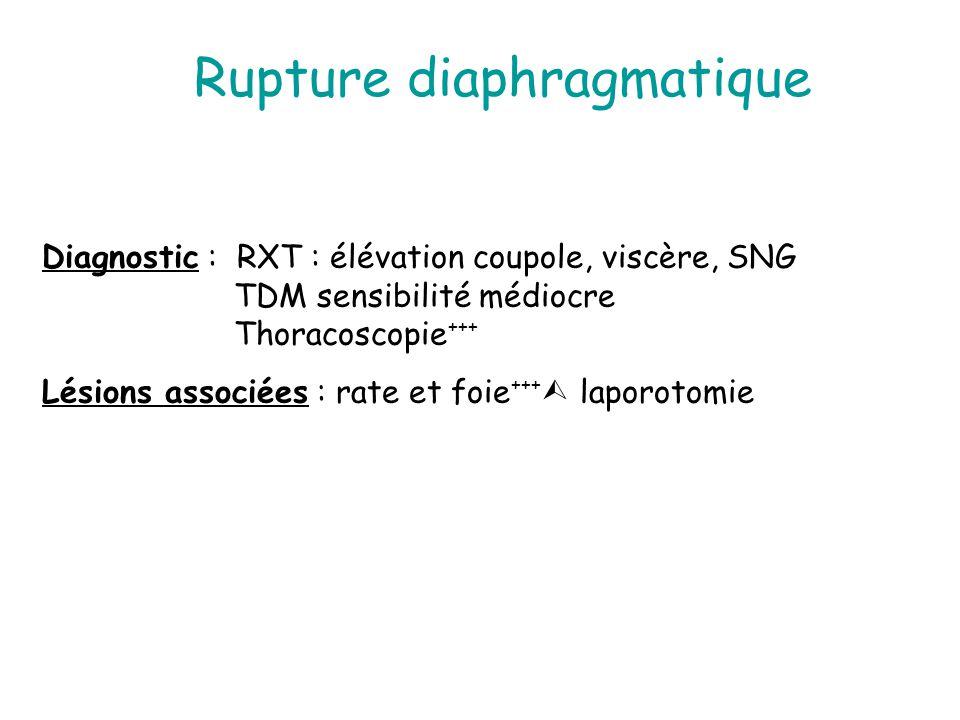 Rupture diaphragmatique Diagnostic : RXT : élévation coupole, viscère, SNG TDM sensibilité médiocre Thoracoscopie +++ Lésions associées : rate et foie