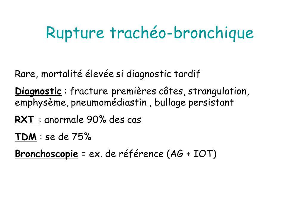 Rupture trachéo-bronchique Rare, mortalité élevée si diagnostic tardif Diagnostic : fracture premières côtes, strangulation, emphysème, pneumomédiasti