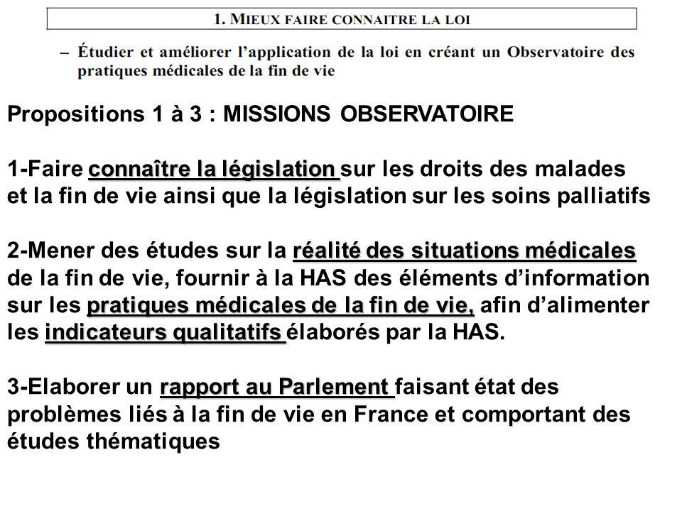 Propositions 1 à 3 : MISSIONS OBSERVATOIRE connaître la législation 1-Faire connaître la législation sur les droits des malades et la fin de vie ainsi