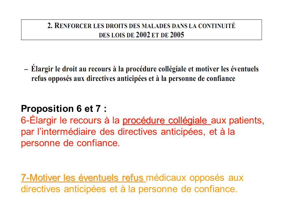 Proposition 6 et 7 : procédure collégiale 6-Élargir le recours à la procédure collégiale aux patients, par lintermédiaire des directives anticipées, e