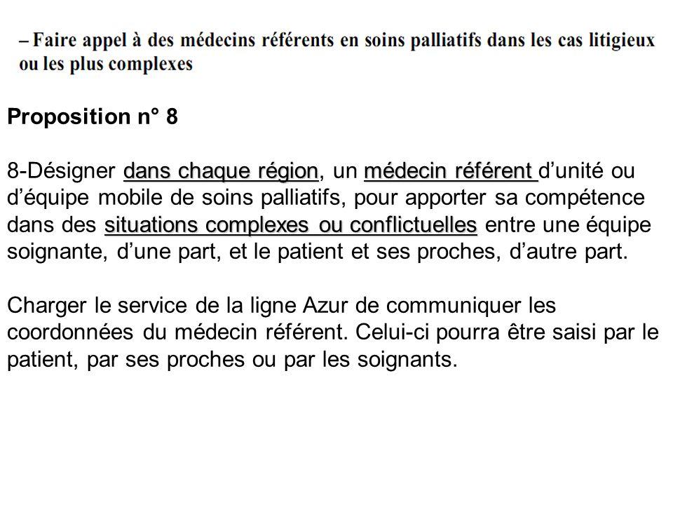 Proposition n° 8 dans chaque régionmédecin référent situations complexes ou conflictuelles 8-Désigner dans chaque région, un médecin référent dunité o