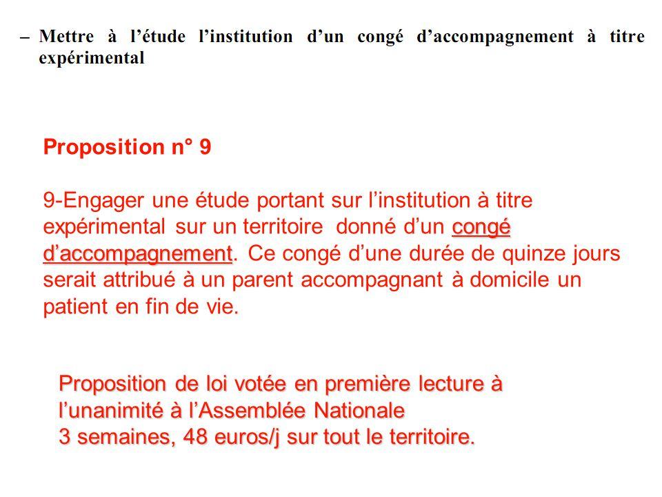 Proposition n° 9 congé daccompagnement 9-Engager une étude portant sur linstitution à titre expérimental sur un territoire donné dun congé daccompagne