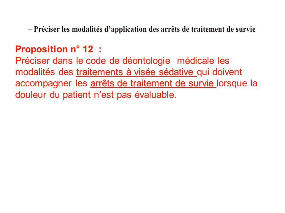 Proposition n° 12 : traitements à visée sédative arrêts de traitement de survie Préciser dans le code de déontologie médicale les modalités des traite