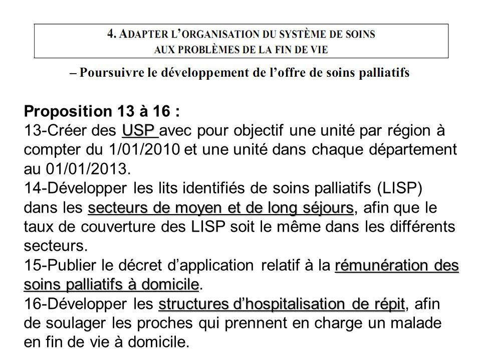 Proposition 13 à 16 : USP 13-Créer des USP avec pour objectif une unité par région à compter du 1/01/2010 et une unité dans chaque département au 01/0