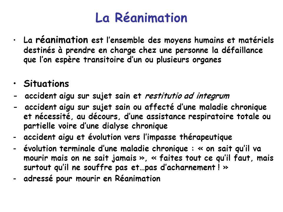 La Réanimation La réanimation est lensemble des moyens humains et matériels destinés à prendre en charge chez une personne la défaillance que lon espè