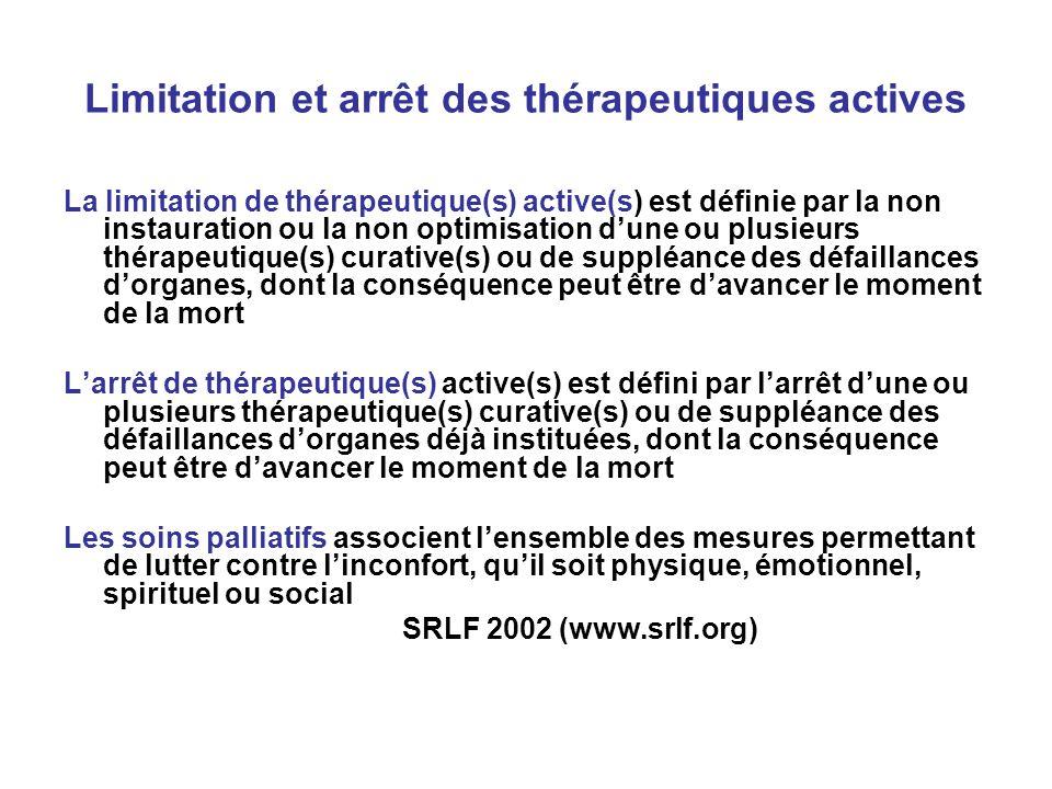 Limitation et arrêt des thérapeutiques actives La limitation de thérapeutique(s) active(s) est définie par la non instauration ou la non optimisation