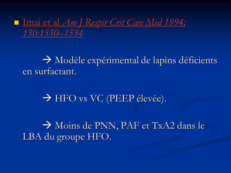 Imai et al Imai et al Am J Respir Crit Care Med 1994; 150:1550–1554 Modèle expérimental de lapins déficients en surfactant. Modèle expérimental de lap
