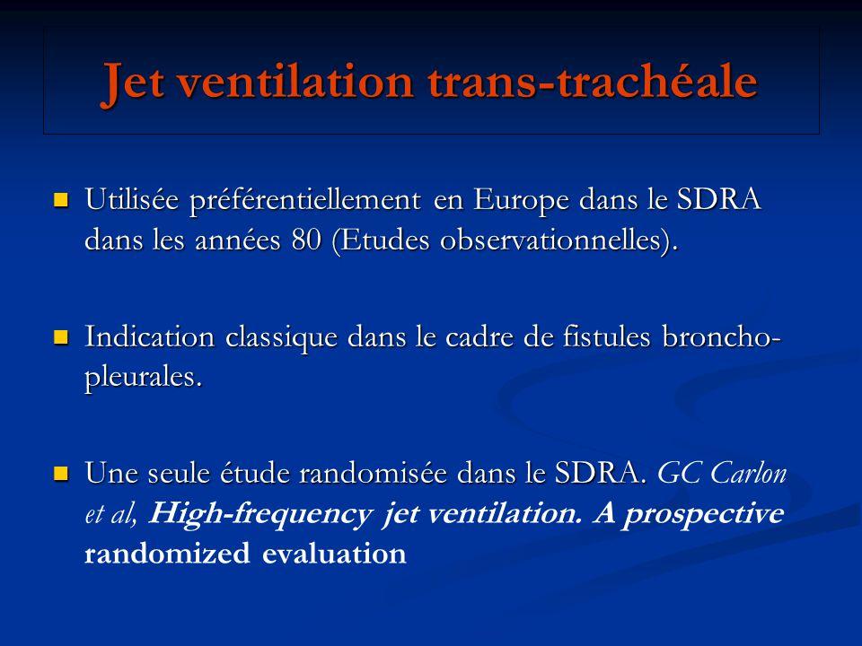 Jet ventilation trans-trachéale Utilisée préférentiellement en Europe dans le SDRA dans les années 80 (Etudes observationnelles). Utilisée préférentie