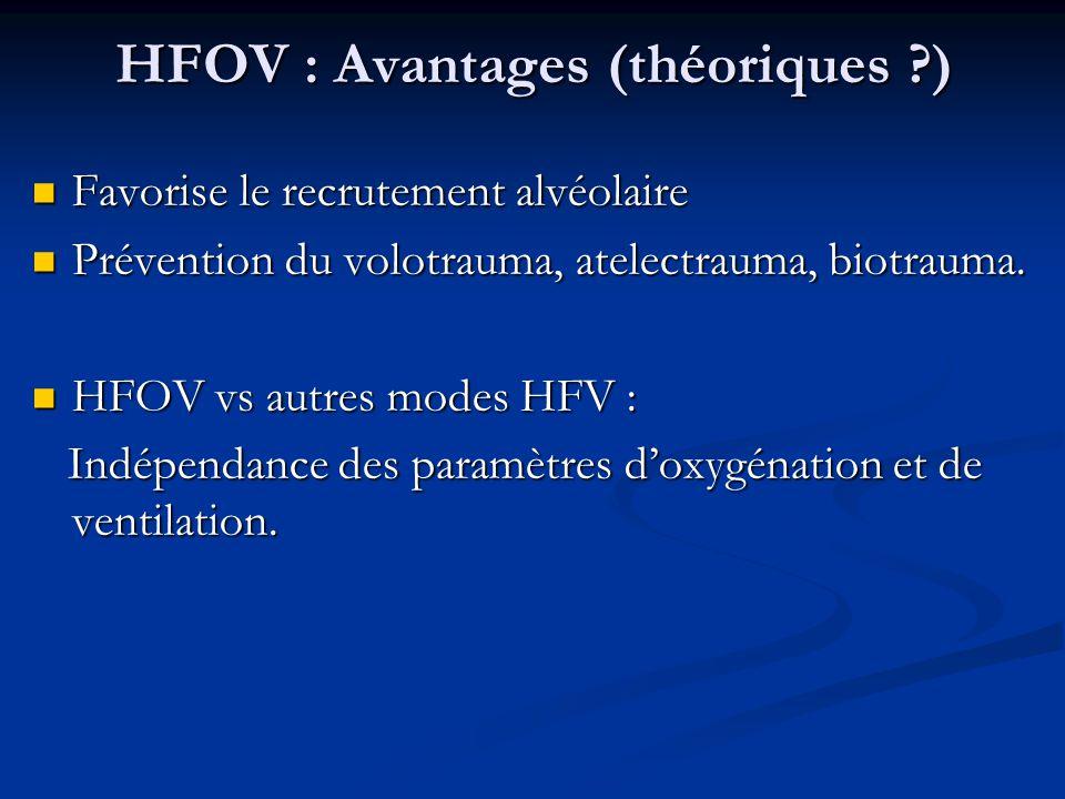 HFOV : Avantages (théoriques ?) Favorise le recrutement alvéolaire Favorise le recrutement alvéolaire Prévention du volotrauma, atelectrauma, biotraum