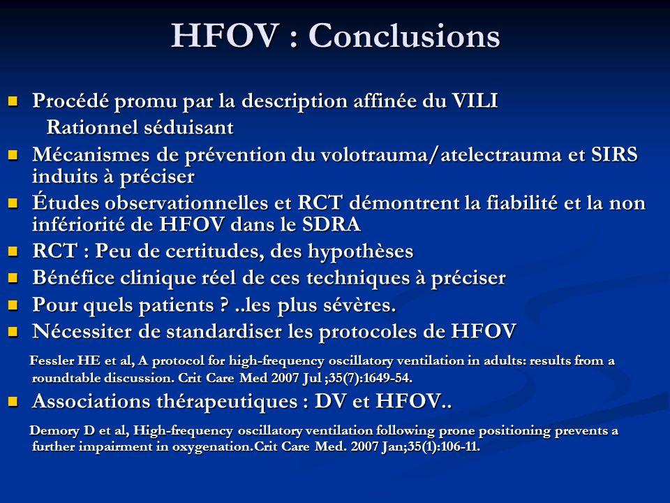 HFOV : Conclusions Procédé promu par la description affinée du VILI Procédé promu par la description affinée du VILI Rationnel séduisant Rationnel séd