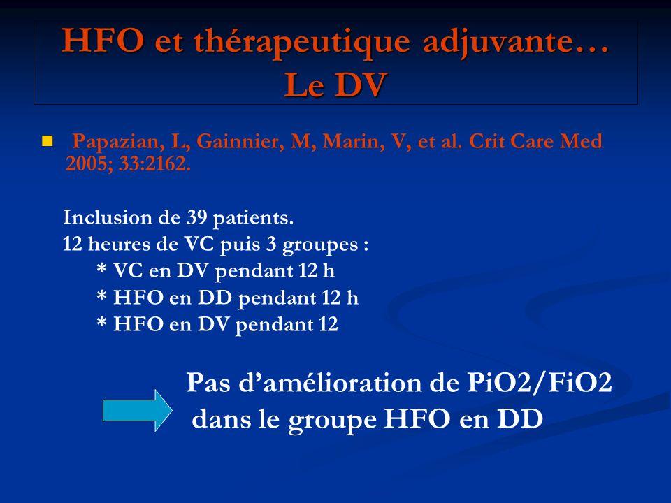 HFO et thérapeutique adjuvante… Le DV Papazian, L, Gainnier, M, Marin, V, et al. Crit Care Med 2005; 33:2162. Inclusion de 39 patients. 12 heures de V