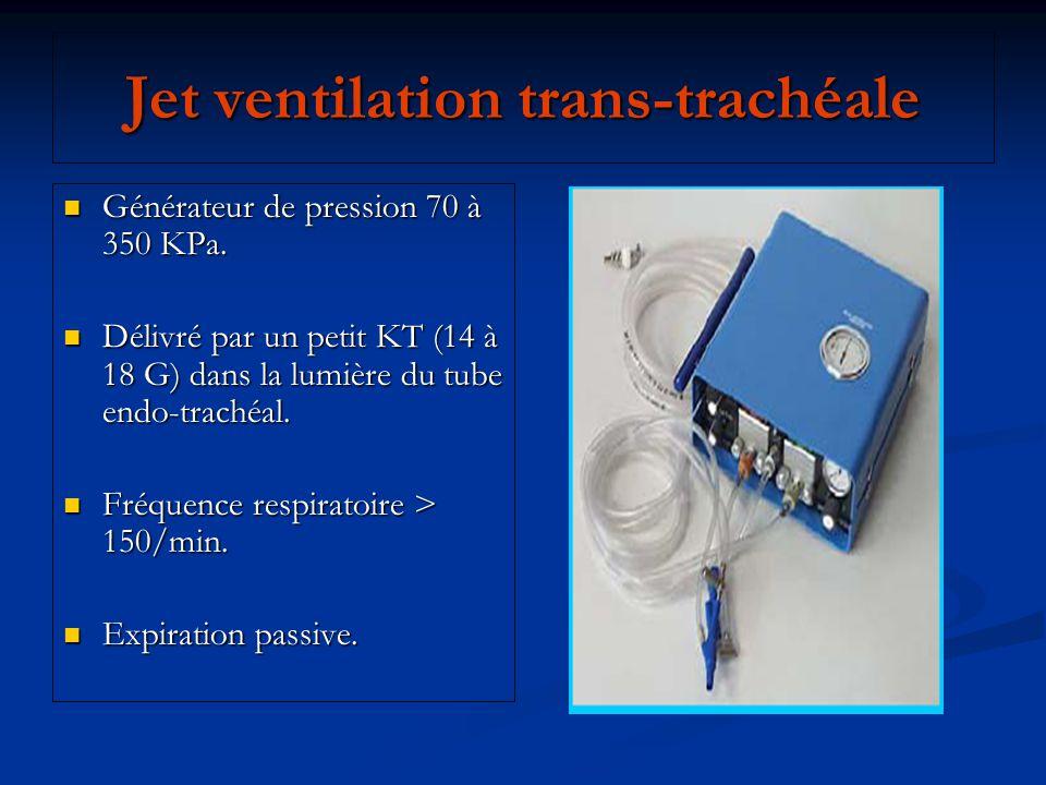 Jet ventilation trans-trachéale Générateur de pression 70 à 350 KPa. Générateur de pression 70 à 350 KPa. Délivré par un petit KT (14 à 18 G) dans la