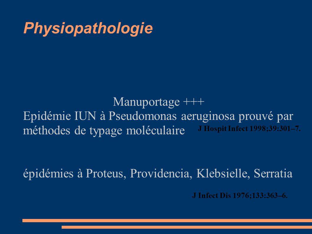 Physiopathologie Manuportage +++ Epidémie IUN à Pseudomonas aeruginosa prouvé par méthodes de typage moléculaire épidémies à Proteus, Providencia, Kle