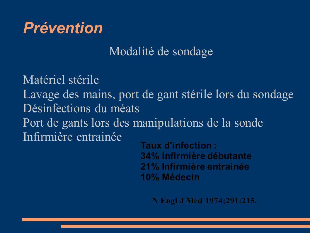 Prévention Modalité de sondage Matériel stérile Lavage des mains, port de gant stérile lors du sondage Désinfections du méats Port de gants lors des manipulations de la sonde Infirmière entrainée Taux d infection : 34% infirmière débutante 21% Infirmière entrainée 10% Médecin N Engl J Med 1974;291:215.