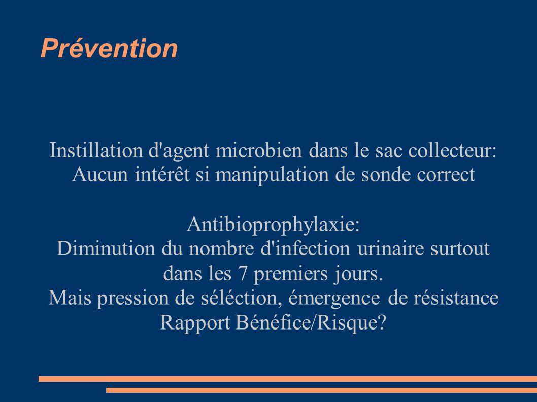 Prévention Instillation d'agent microbien dans le sac collecteur: Aucun intérêt si manipulation de sonde correct Antibioprophylaxie: Diminution du nom