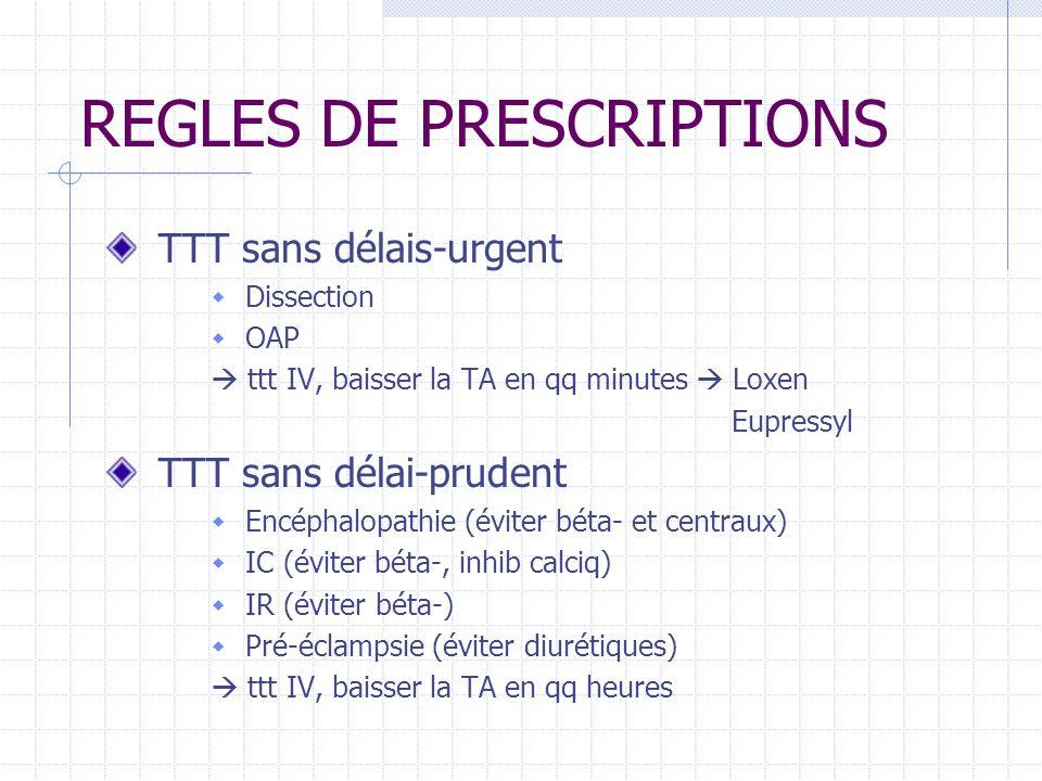 REGLES DE PRESCRIPTIONS TTT sans délais-urgent Dissection OAP ttt IV, baisser la TA en qq minutes Loxen Eupressyl TTT sans délai-prudent Encéphalopathie (éviter béta- et centraux) IC (éviter béta-, inhib calciq) IR (éviter béta-) Pré-éclampsie (éviter diurétiques) ttt IV, baisser la TA en qq heures