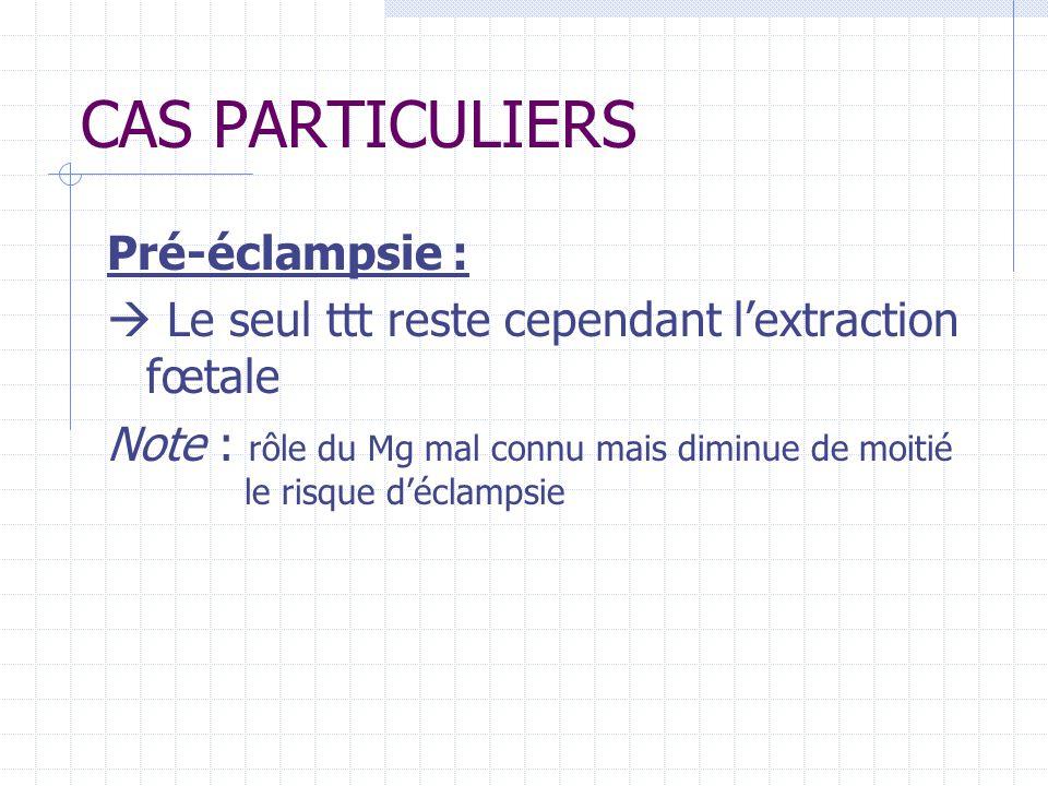 CAS PARTICULIERS Pré-éclampsie : Le seul ttt reste cependant lextraction fœtale Note : rôle du Mg mal connu mais diminue de moitié le risque déclampsie