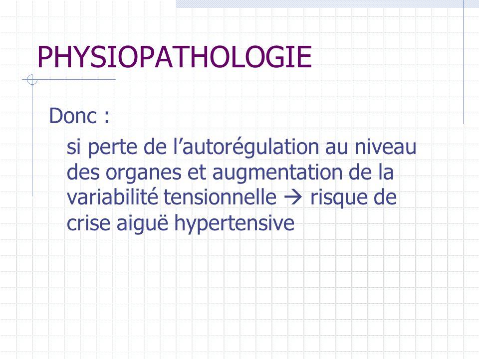 PHYSIOPATHOLOGIE Donc : si perte de lautorégulation au niveau des organes et augmentation de la variabilité tensionnelle risque de crise aiguë hypertensive