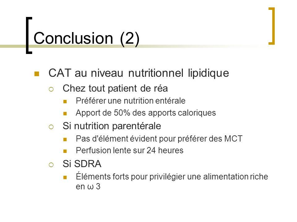 Conclusion (2) CAT au niveau nutritionnel lipidique Chez tout patient de réa Préférer une nutrition entérale Apport de 50% des apports caloriques Si n