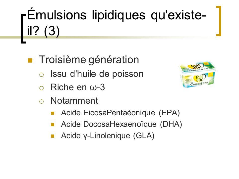 Émulsions lipidiques qu'existe- il? (3) Troisième génération Issu d'huile de poisson Riche en ω-3 Notamment Acide EicosaPentaéonique (EPA) Acide Docos